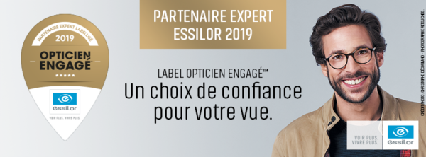 opticien engagé essilor montpellier logo or 5 étoiles